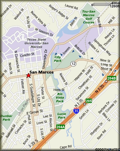 Map to San Marcos Old City Park