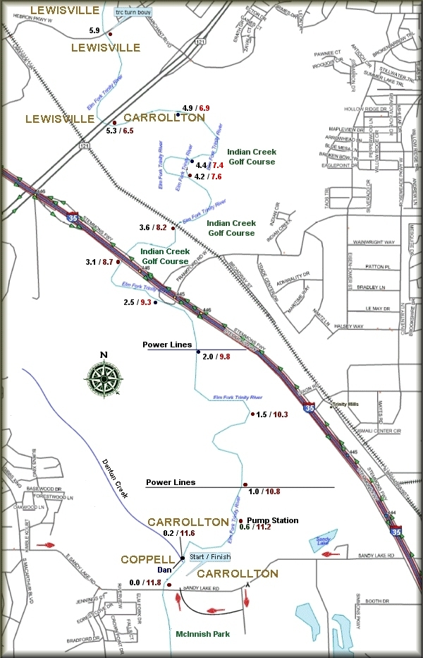 DDRC Trinity River Challenge Race Course Map